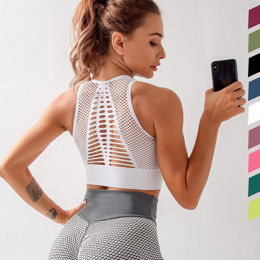 Top de Yoga para mujer... Sujetador deportivo Sexy de malla de Chaleco...