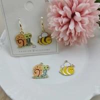 10pcs alloy enamel charms gold tone lovely snail bee charm pendant diy earring bracelet finding jewelry accessories handmade