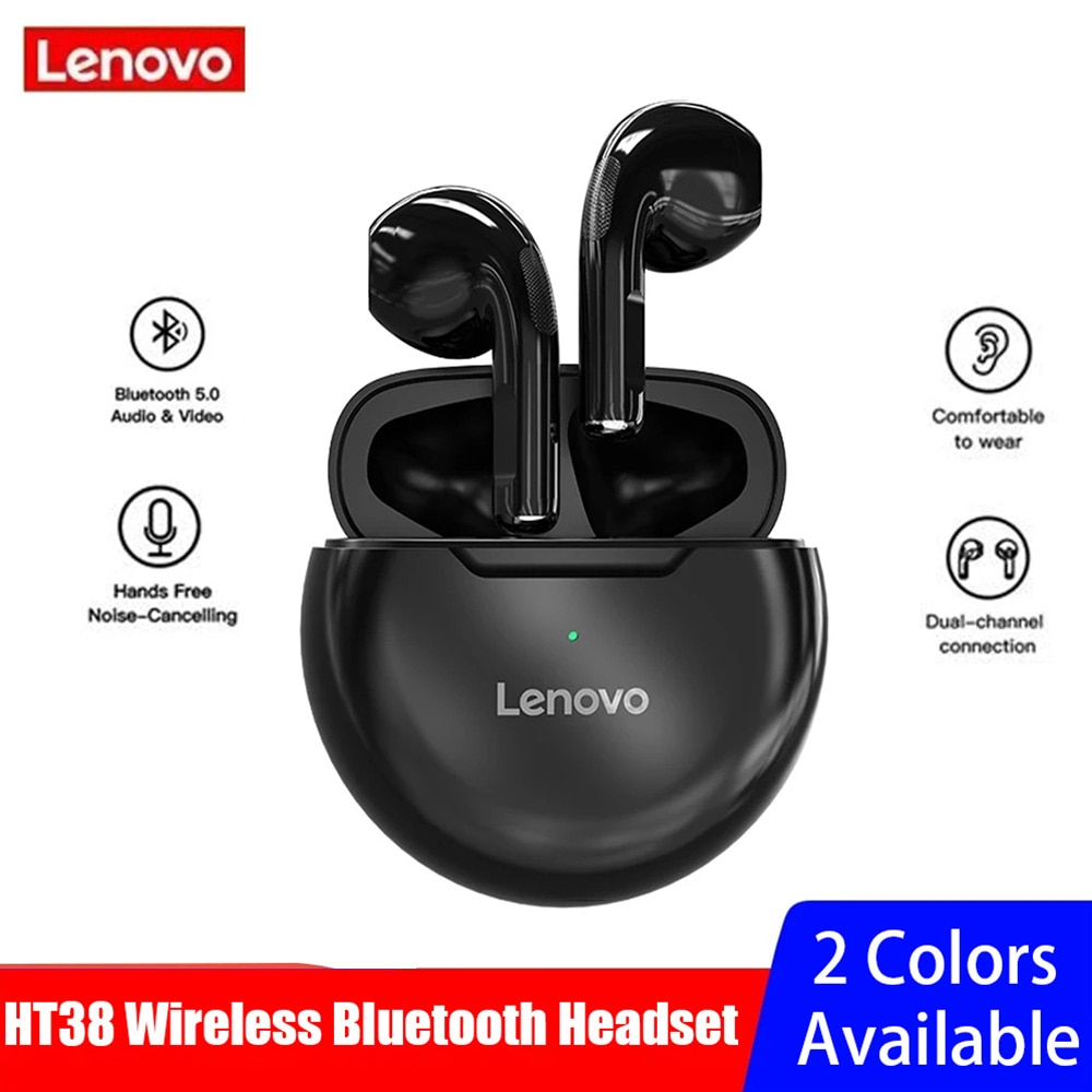 Lenovo HT38 Wireless Bluetooth 5.0 Earphones TWS 9D Stereo Sound Earbuds Touch Control Headphone Spo