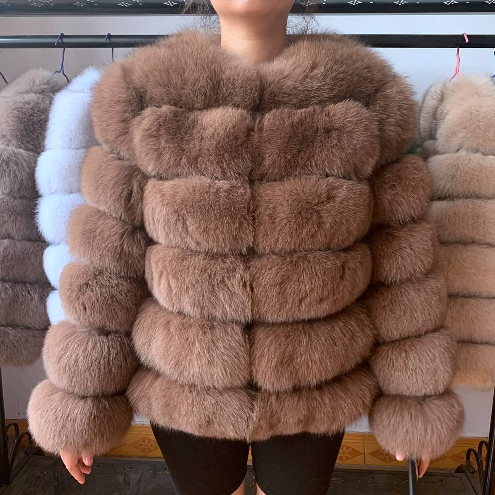 Natural fox fur coat real fox fur short jacket winter fashion warm casual European woman street style