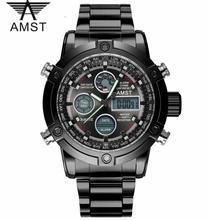 Mann Uhr Quarz dual bewegung wasserdichte sport LED display edelstahl uhren luxus chronograph männlichen uhr AMST3022