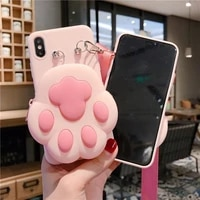 cute cat dog paw print zipper wallet soft phone cover for huawei nova7 nova 7 pro 5g 6 se 7i 5t 5i 5 3 3i nova6 case lanyard