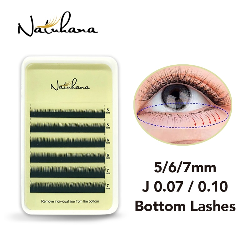 Naturhana inferior cílios extensão 5mm 6mm 7mm curto vison sob cílios sobrancelha cílios maquiagem maquillaje cilios