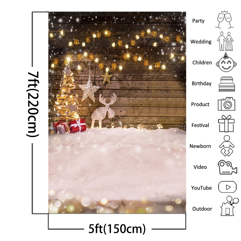 Christmas Photography Backdrops Winter Snowflake Rustic Wooden Floor Children Portrait Background Photo Studio Photoshoot Props enlarge