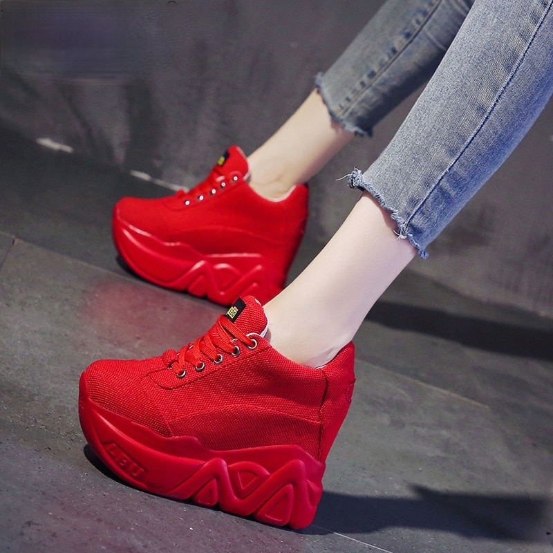 Grosso-sola para Mulheres Sapatos de Malha Respirável para Mulheres de Malha Calçados Esportivos Malha Respirável Aumentar 2021 Primavera – Verão Sapatos Casuais