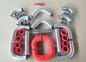 """3"""" Aluminum Intercooler Turbo Piping + hose & T-Clamp kits 12pcs"""