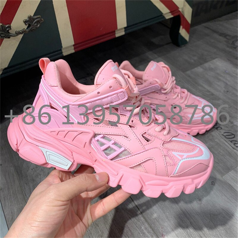 Popular Luxury Brand Casual Couples Men's and Women's Shoes Designer Sports Fashion Leather Lace Up Running Shoes Mixed Color