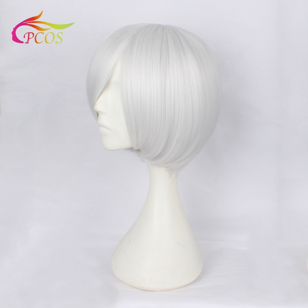 Short Bob Synthetic Cosplay Wig With Side Bang For Women Straight Grey White Color Party Wigs +Free Wig Cap fashion side bang short straight orange charming kousaka honoka cosplay wig with double chignons