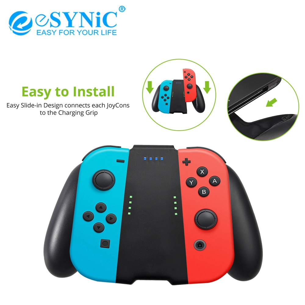 ESYNiC-قبضة شحن مدمجة ، بطارية 1500 مللي أمبير ، مع أغطية قبضة الإبهام 2 Pro وكابل شحن من النوع C لجهاز Nintendo Switch Joy Con