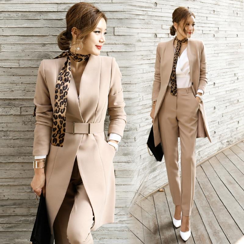 2021 الخريف المرأة 2 قطعة بانت الدعاوى النساء عادية مكتب بدلة عمل العمل الرسمي ارتداء مجموعات أنماط موحدة أنيقة بانت الدعاوى