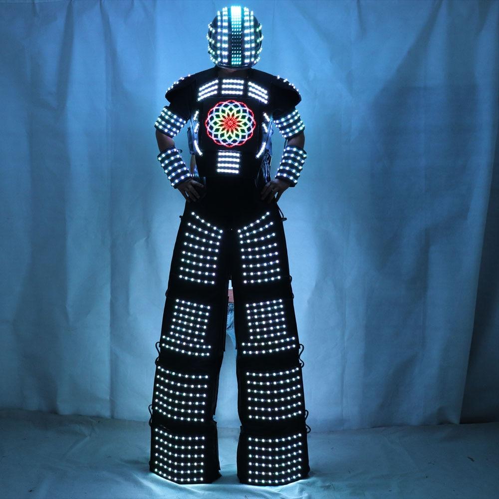 LED Light Robot Costume Clothing Traje de Robot LED Stilts Walker Suit jacket event kryoman costume led disfraz de robot