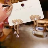 korean bowknot drop earrings for women elegant bow tasse dangle earrings elegant new fashion jewelry copper inlaid zircon gift