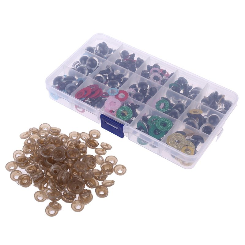 150pcs/set 14mm Tiny Round Safety Eyes Plastic Glitter Toy with Washer for Bear Doll Puppet Making DIY
