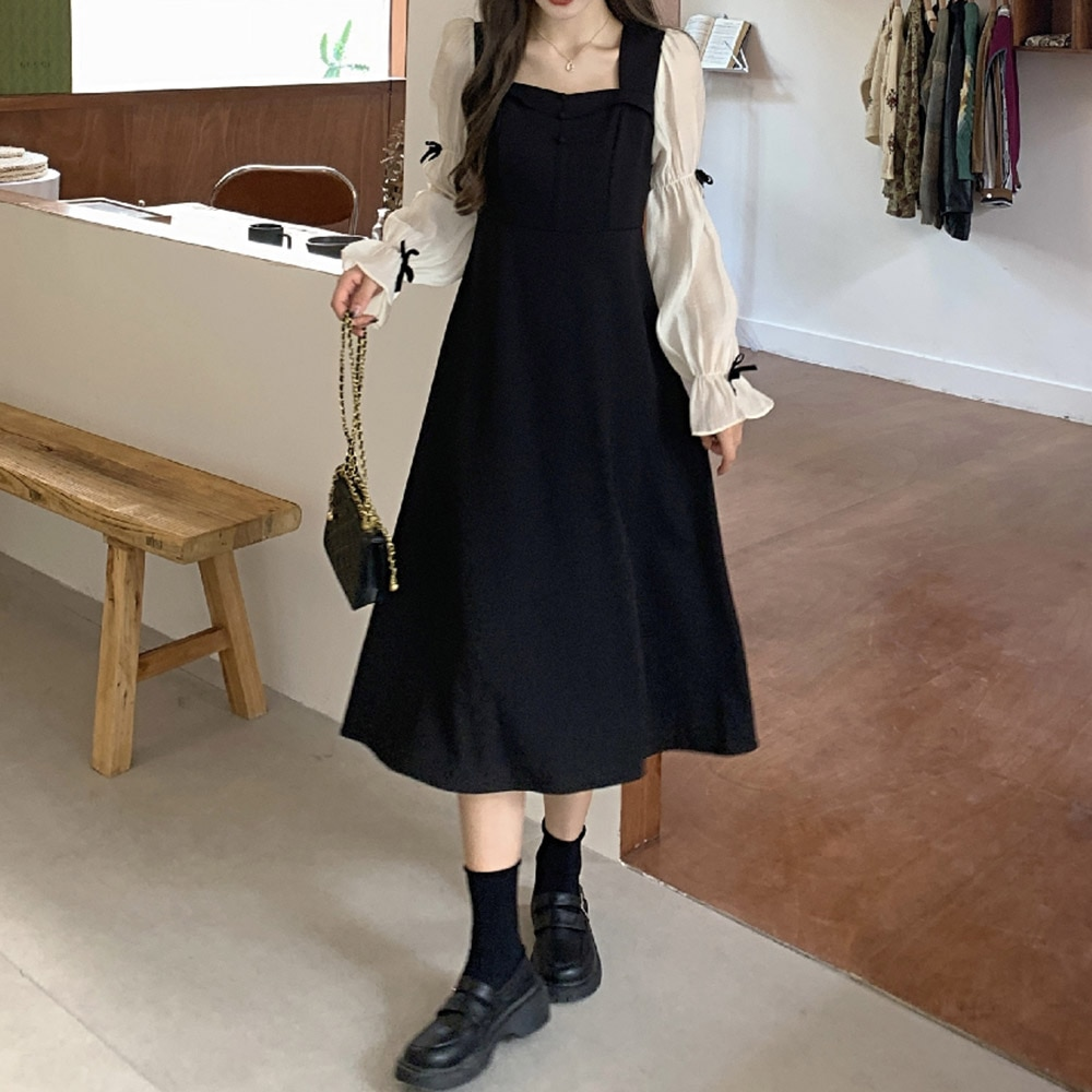 Dresses 2021 New French Square Collar Stitching Long Sleeve Little Black Dress With Coat Goddess Temperament Waist Young Clothes