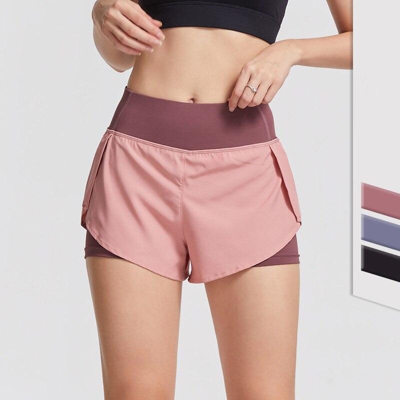 Имитация двух частей спортивных шорт с высокой талией обтягивающие высокие эластичные быстросохнущие брюки для фитнеса тренировочные шта...