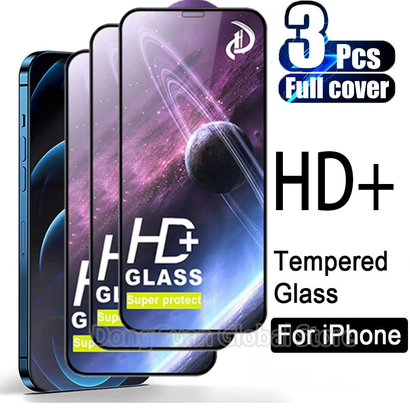 HD+ 3Pcs Tempered Glass For iPhone 12 Pro Max Screen Protector For iPhone 12 Pro Max Full Cover Glas