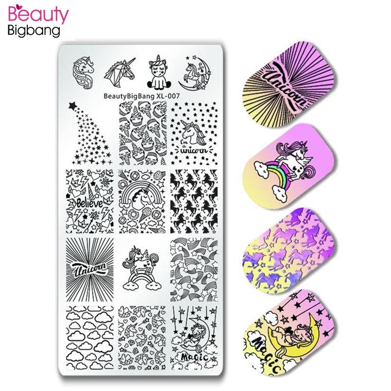 BeautyBigBang 6*12CM placas de estampado de uñas manicura rectangular sello lindo perro unicornio imagen Plantilla de estampado para uñas BBB XL-007