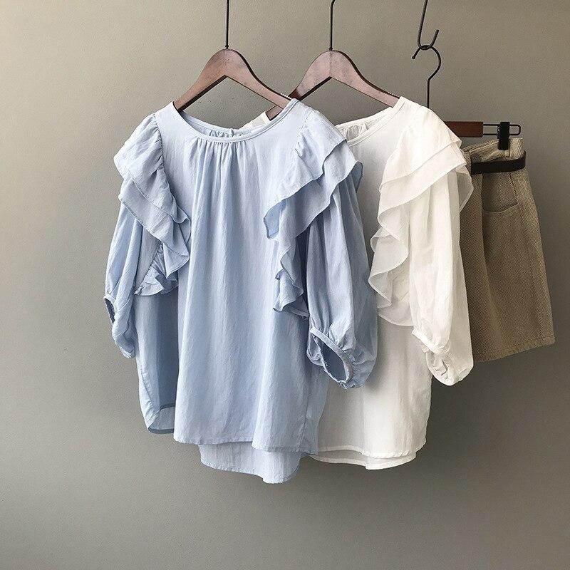 summer new shirts for women female loose lantern sleeve blouses 0855#