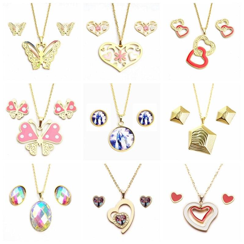 Yunuk القلب فراشة مجوهرات من صلب لا يصدأ مجموعات ل أقراط مرصعة حريمي القلائد مجموعة عشوائي 15 مجموعات/وحدة بالجملة