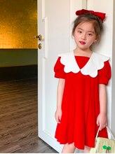 Vêtements pour enfants 2020 été nouvelle fille douce dentelle col généreux revers une version de froissé nuage poupée robe