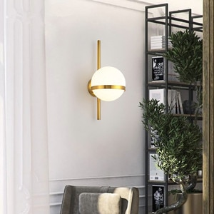 Nordic Wall Light Modern Creative Glass Wall sconce Round moon Bedside Lamp Living Room bedroom Corridor Wrought Iron Lighting