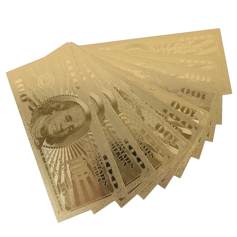 10pcs 100 Dollar USA Gold Banknote Currency Bill Paper Money Coin Medal 24k United States OF America