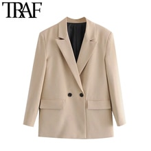 TRAF Women Fashion Double Breasted Loose Fitting Blazer Coat Vintage Long Sleeve Pockets Female Oute