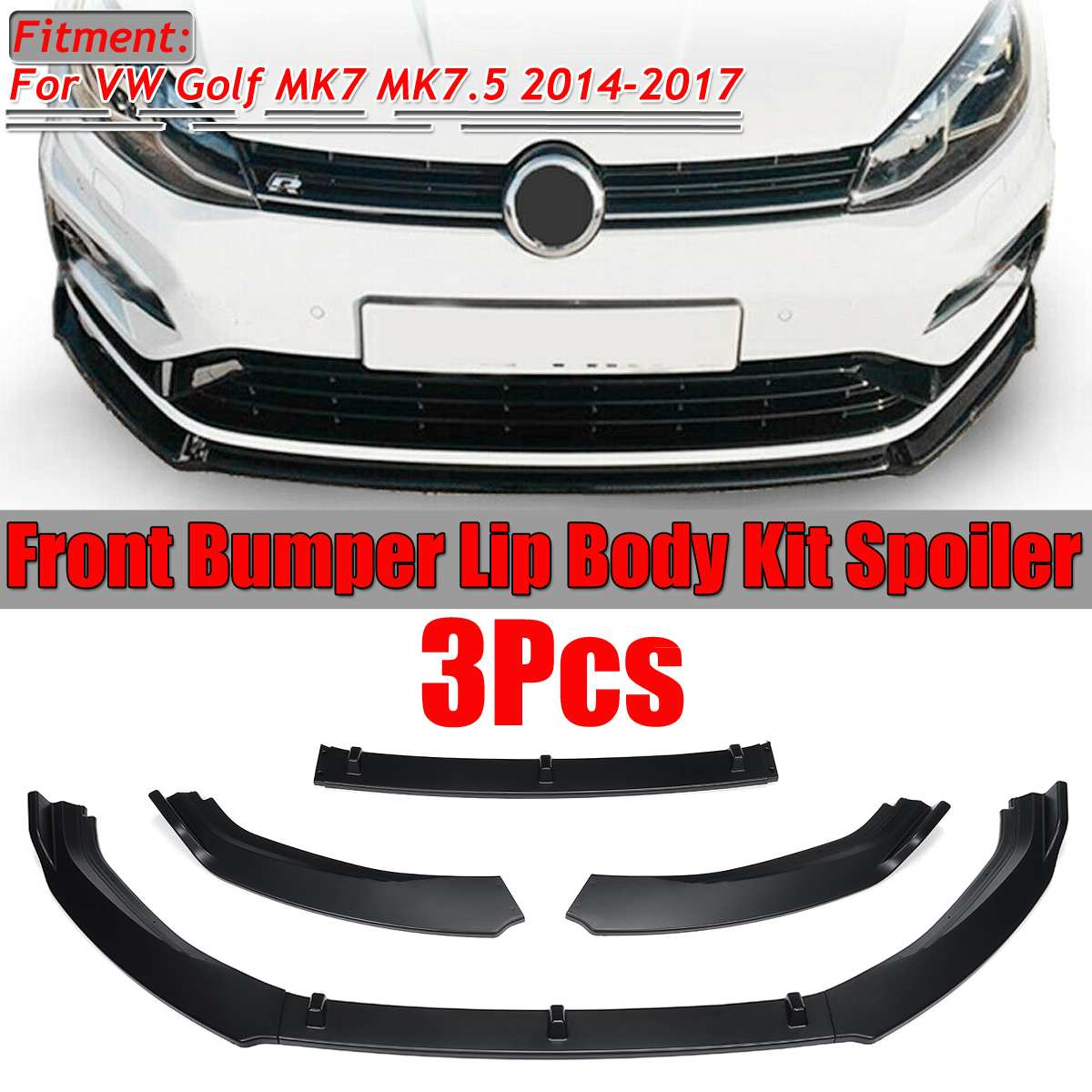 3pc Car Front Bumper Splitter Lip Spoiler Diffuser Guard Cover Trim For Volkswagen For VW For Golf M