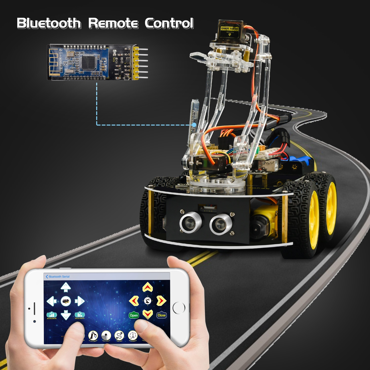 Keyestudio 4WD Mechanical Arm Robot Smart Car for Arduino Robot /Support Android &IOS недорого