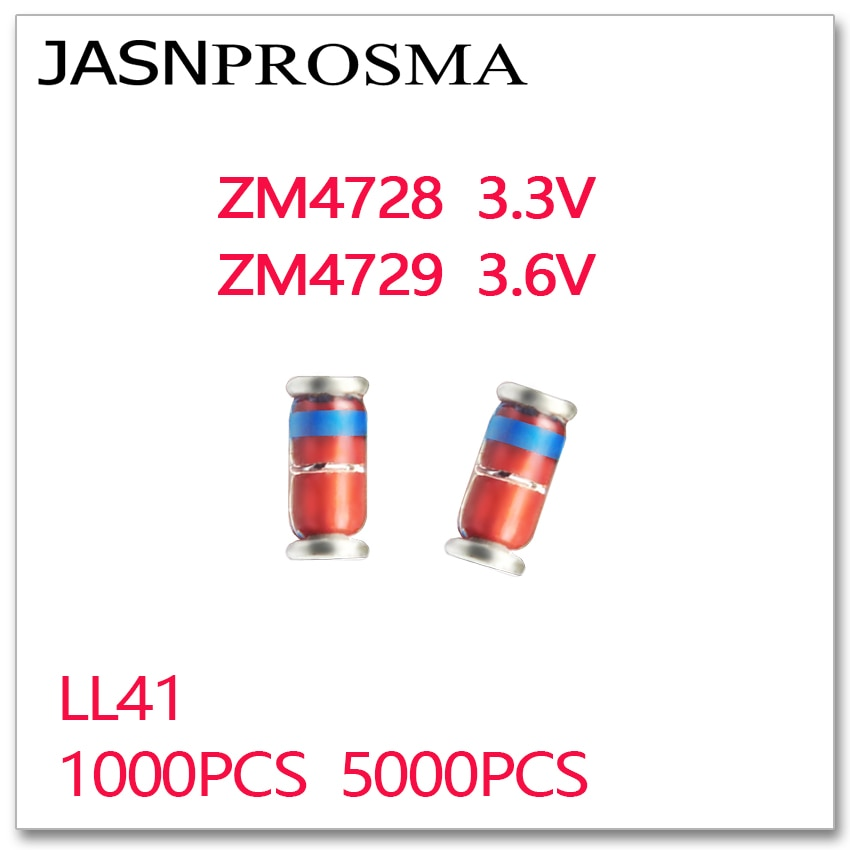 JASNPROSMA 1000 шт 5000 шт ZM4728 ZM4729 3,3 В 3,6 В LL41 1 Вт ZM4728A ZM4729A 4728 4729 zener 1N4728 1N4729 IN4728 IN4729 3V3 3V6