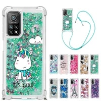 strap lanyard cartoon phone case for xiaomi redmi note 8 9s 9 pro max 10 note 10s poco x3 nfc tpu soft glitter liquid back cover