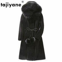 Réel manteau de fourrure mouton peau de mouton manteau dhiver femmes vêtements 2020 laine veste coréen renard col de fourrure Plus la taille longs manteaux ZT683