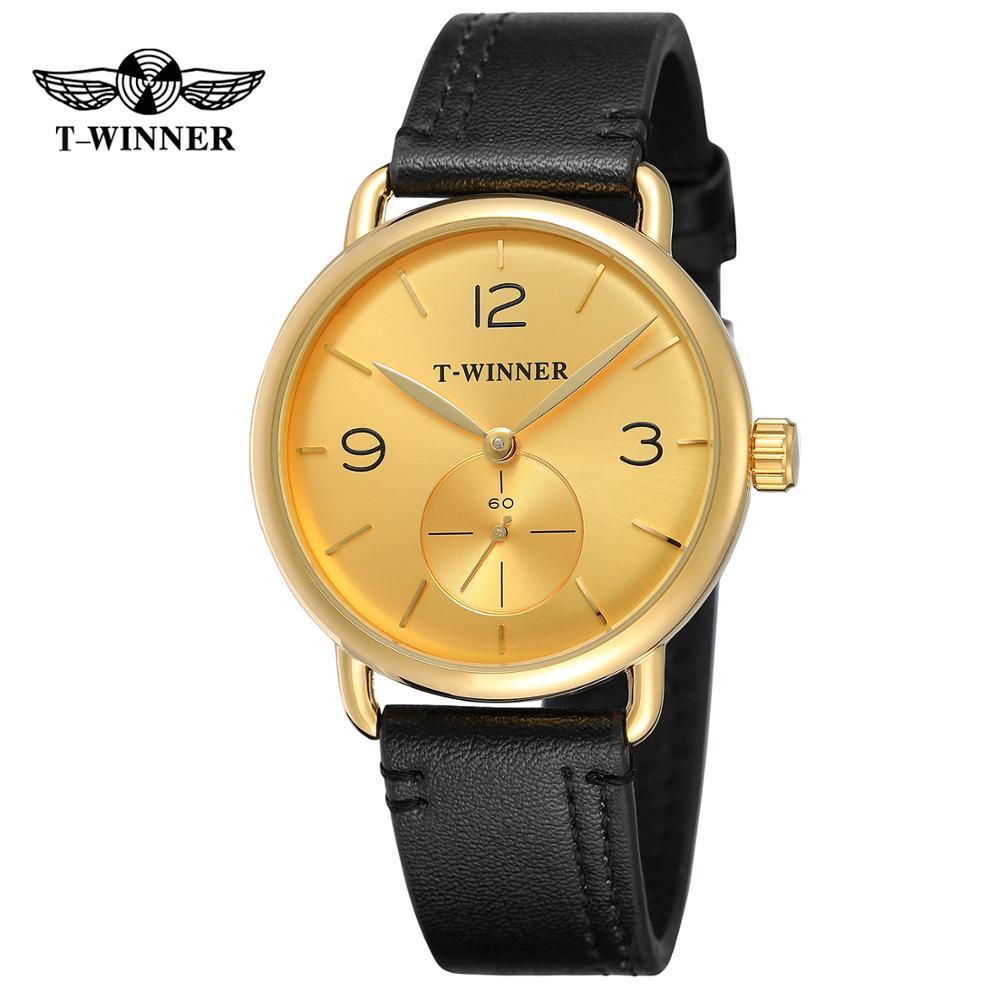 Dial e Case Pulseira de Couro T-winner Moda Simples Relógio Masculino Casual Redondo Ouro Preto Mecânico Automático