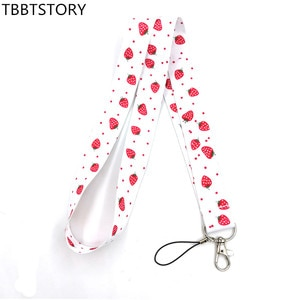 12Pcs Strawberry Lanyard For Keys Mobile Phone Rope Neck Strap Keycord USB ID Card Badge Holder Keyring Webbing Ribbon Keychain