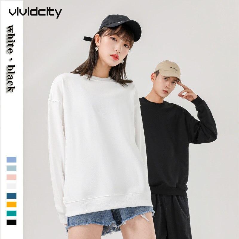 Sudaderas de cuello redondo en blanco para mujeres, simples, sueltos, hombros, Harajuku, Color sólido, manga larga, otoño 2020, nueva pareja, Sweatshir WX01