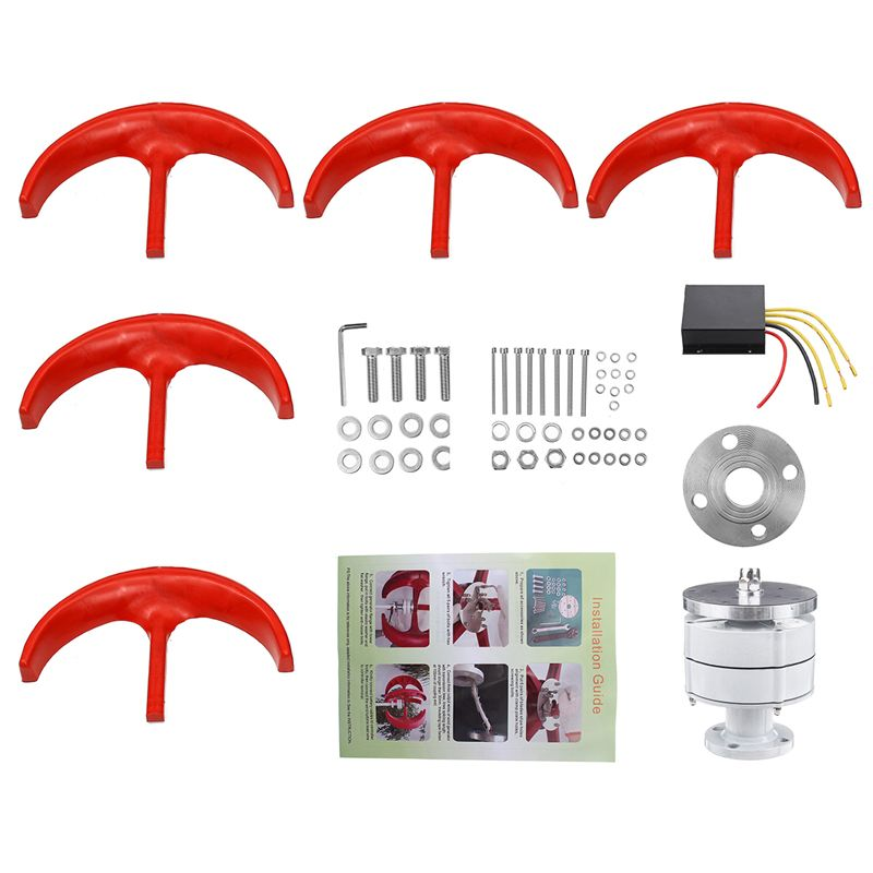 Generador de turbinas eólicas 6000W 12V 24V + controlador 5 cuchillas linterna eje Vertical generador de imanes permanentes para farola doméstica
