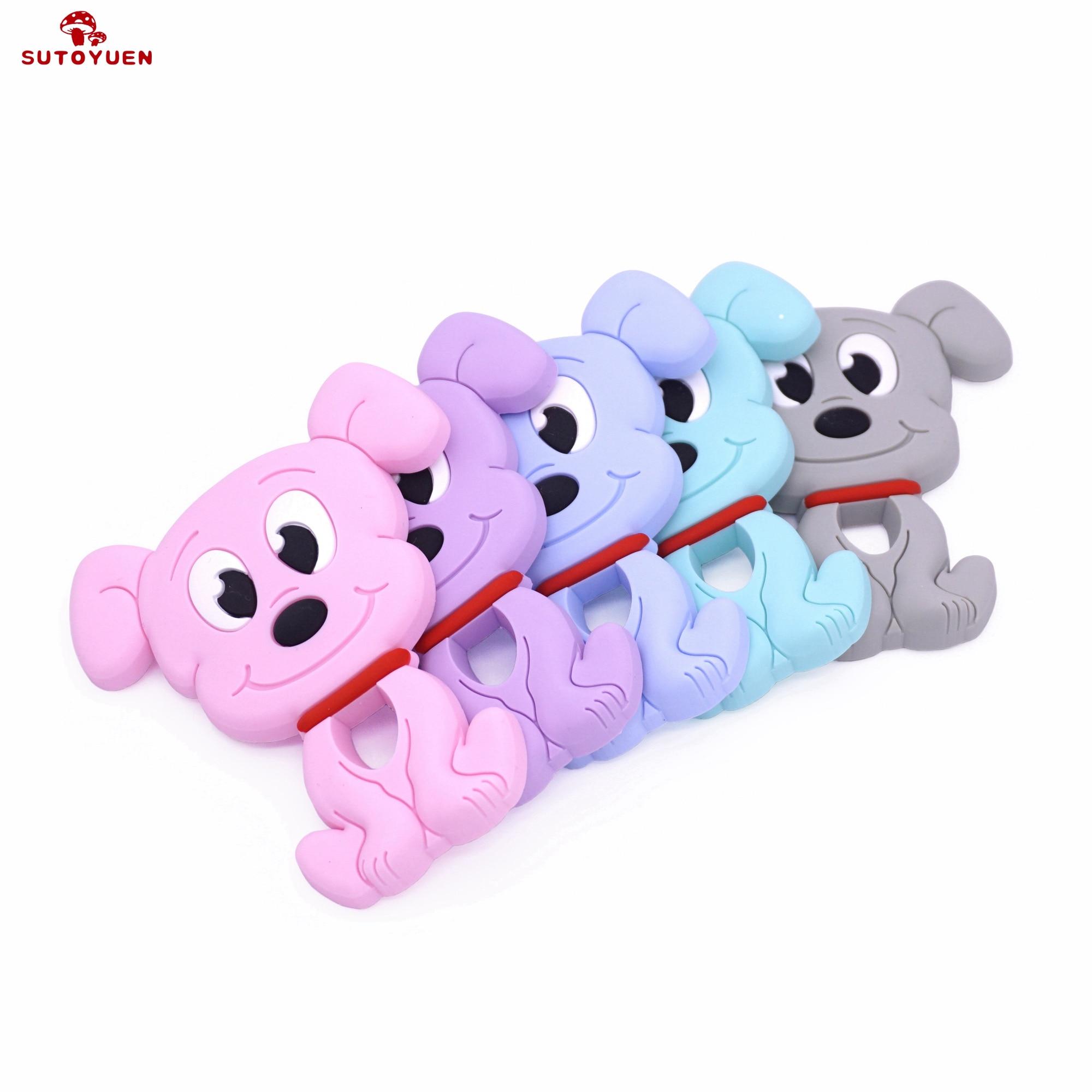 1pc Cartoon Dog Silicone Teether Cute Toys Chewable Animal Baby Product DIY Nursing Teething Pendant