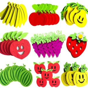 45Pcs Strawberry Banana Fruit Wall Felt Stickers DIY Craft Children Room Decor Handmade Art Creativity Devoloping Toys