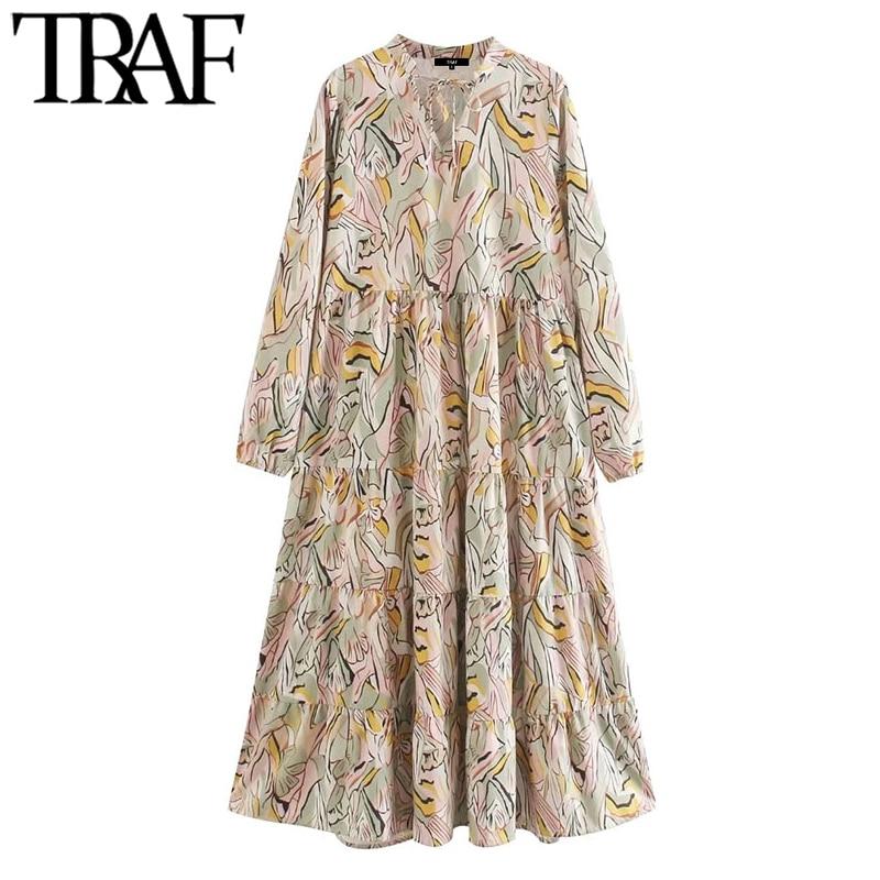 TRAF Women Chic Fashion Printed Pleated Midi Dress Vintage Tied O Neck Long Sleeve Female Dresses Vestidos Mujer