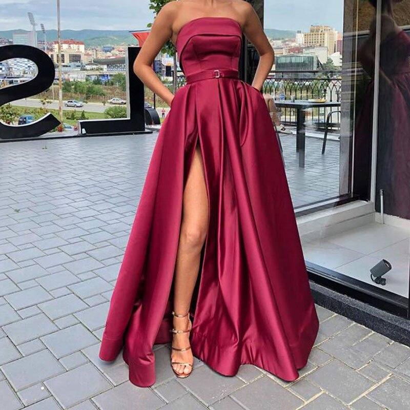 New Evening Prom Dresses Vestido De Festa Robe De Soiree Pink Satin Sexy Strapless Long Formal Party Gown