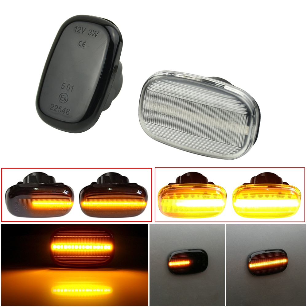 LED Dynamic Side Marker Turn Signal Light Sequential Lamp For Toyota Corolla E10/E11/E12 ZE120 Hilux Surf N21 Yaris Verso Celica