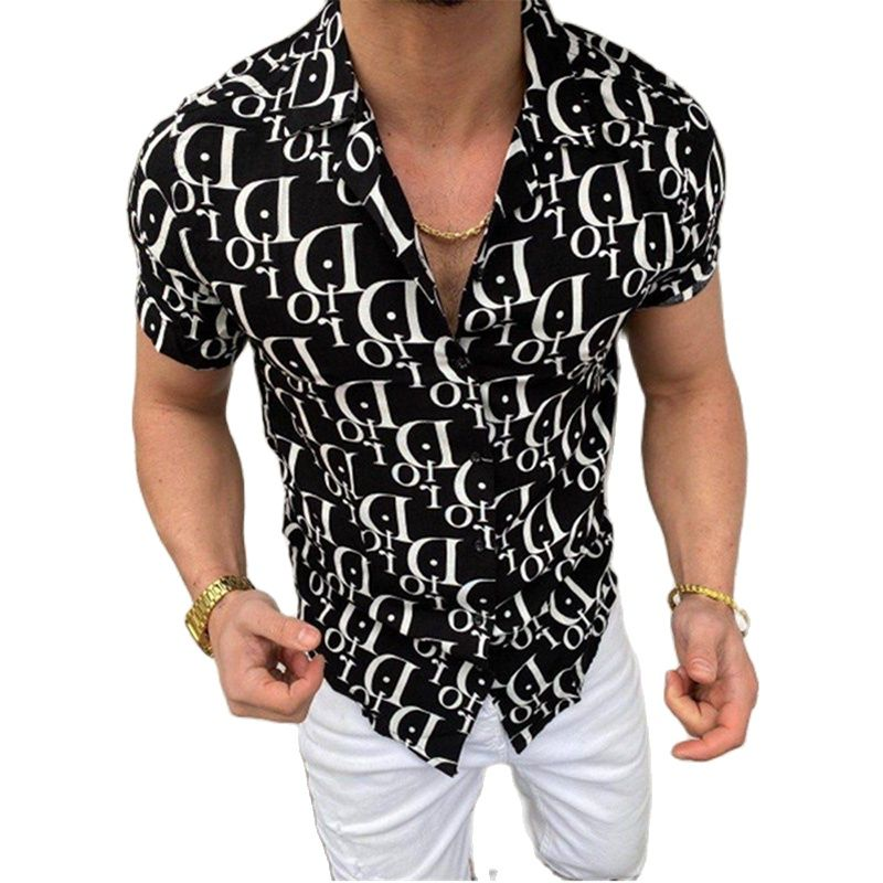 Summer New Hot Trend Brand Men's Shirt Hawaiian Casual One-Click All-Match Printing Short-Sleeved Blouse European Size S-3XL