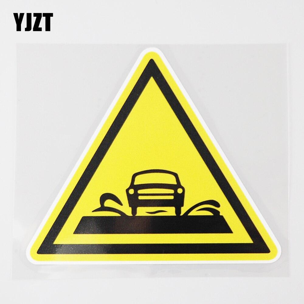 YJZT 12.9CM×11.3CM Dangerous Over Water Be Careful Car Sticker  PVC Decal 12C-0368