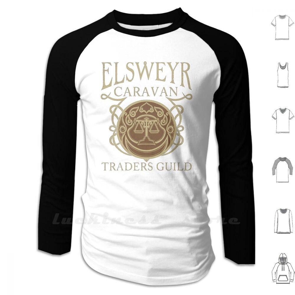 Elsweyr traders guild-camisetas e moletons de manga longa masculino adolescente camisa de beisebol legal vetor nerd jogos o ancião rolos