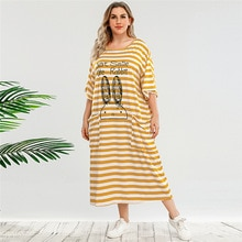 Plus Size Women Summer Dress Fashion Cartoon Casual Dress 2021 New Arrivals Orange Striped Short Sle