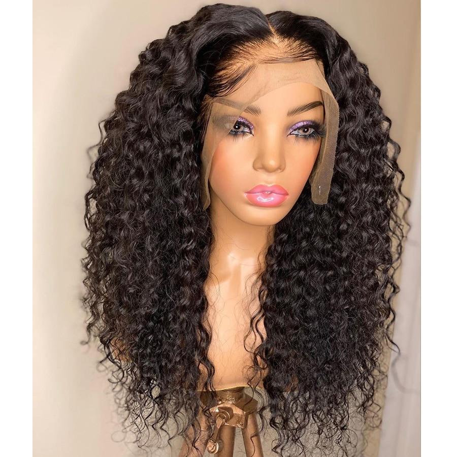 Simbeauty الهندي الطبيعي مجعد 100% خصلات الشعر المستعار الإنسان مع شعر الطفل 200 الكثافة قبل قطعها 13x6 الدانتيل الجبهة الباروكات ريمي للنساء