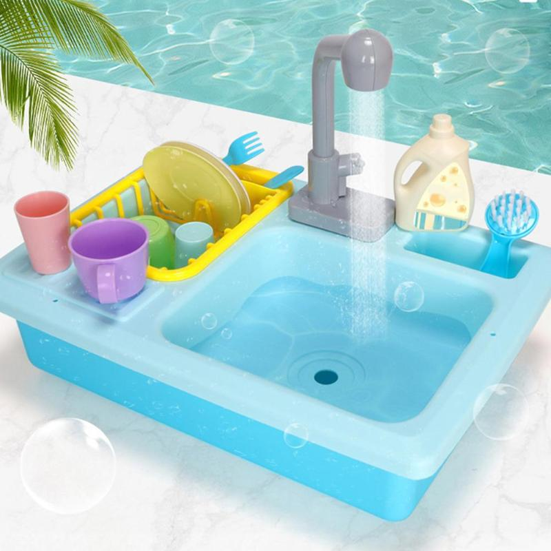 Plastic Simulation Electric Miniature Kitchen Toys For children Kitchen Dishwasher Sink Pretend Play Kitchen Toys Set For Kids