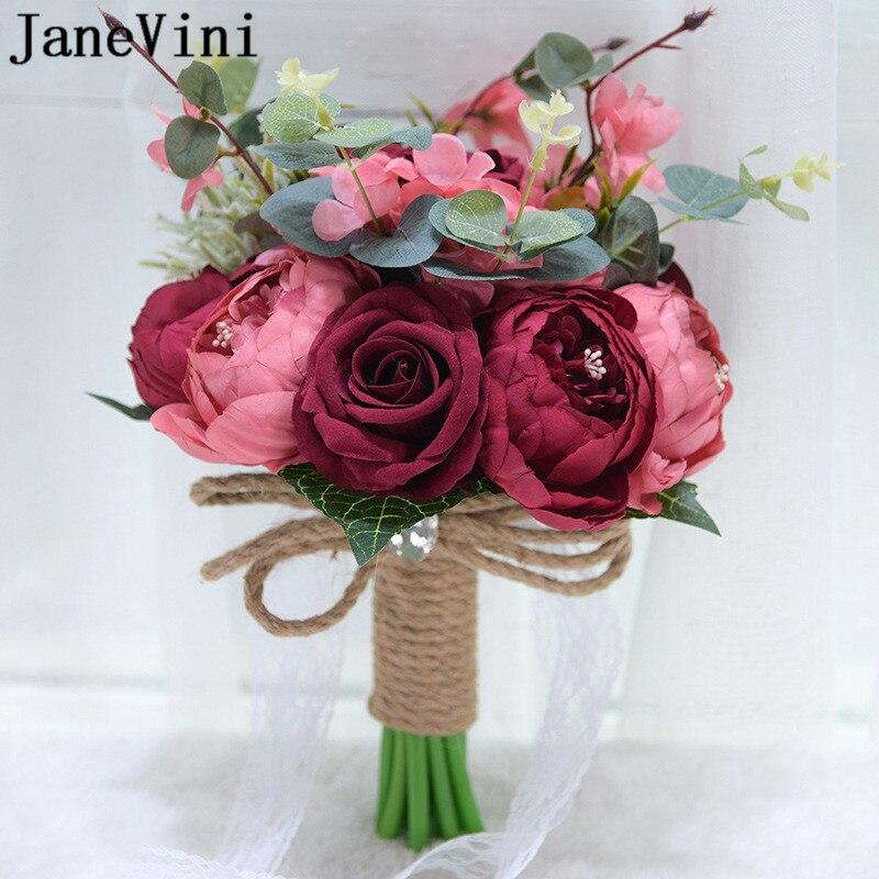JaneVini Vintage rojo oscuro seda Rosa peonía flores artificiales para la novia...