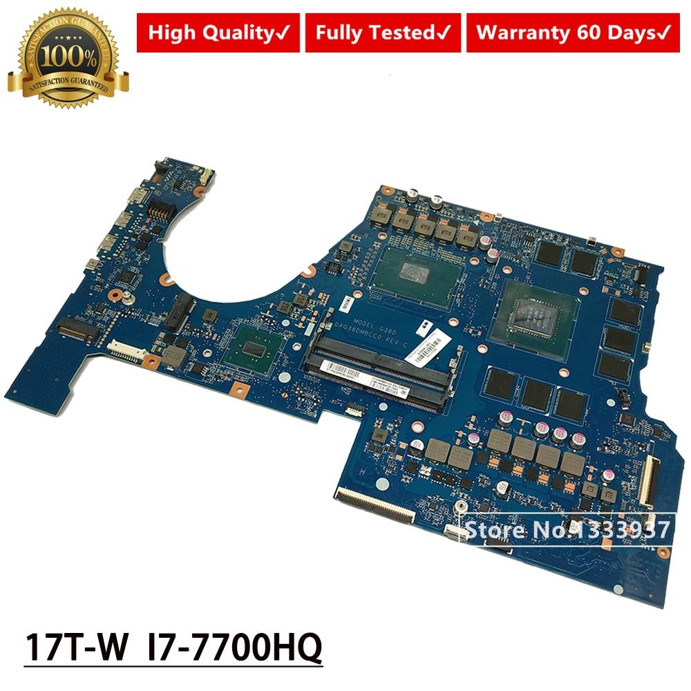 G38D DAG38DMBCC0 Laptop motherboard Para HP PRESSÁGIO 17-W 17T-W 17-w151nr I7-7700HQ SR32Q Mainboard 915554-601 915554-001 N17E-G2-A1