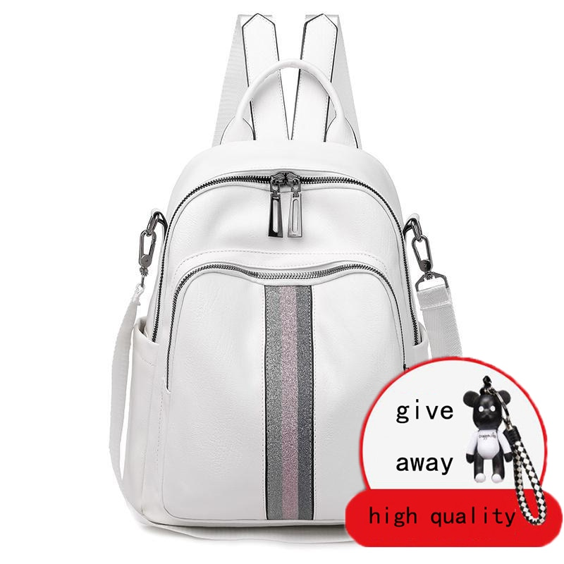 Pu Leather Double Zipper White Travel Backpacks High Capacity Luxury Soft Designer Bags College Style Student Bags Mochila
